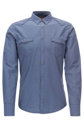 Slim-fit cowboy shirt in cotton poplin, Dark Blue