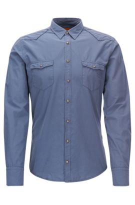Slim-Fit Cowboy-Hemd aus Baumwolle, Dunkelblau