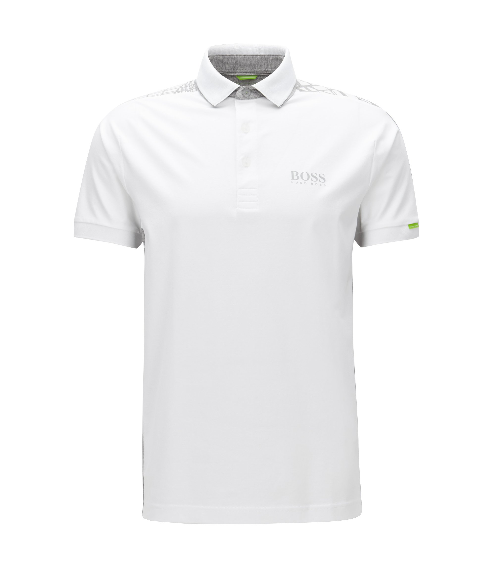 Polo Regular Fit en coton stretch, Blanc
