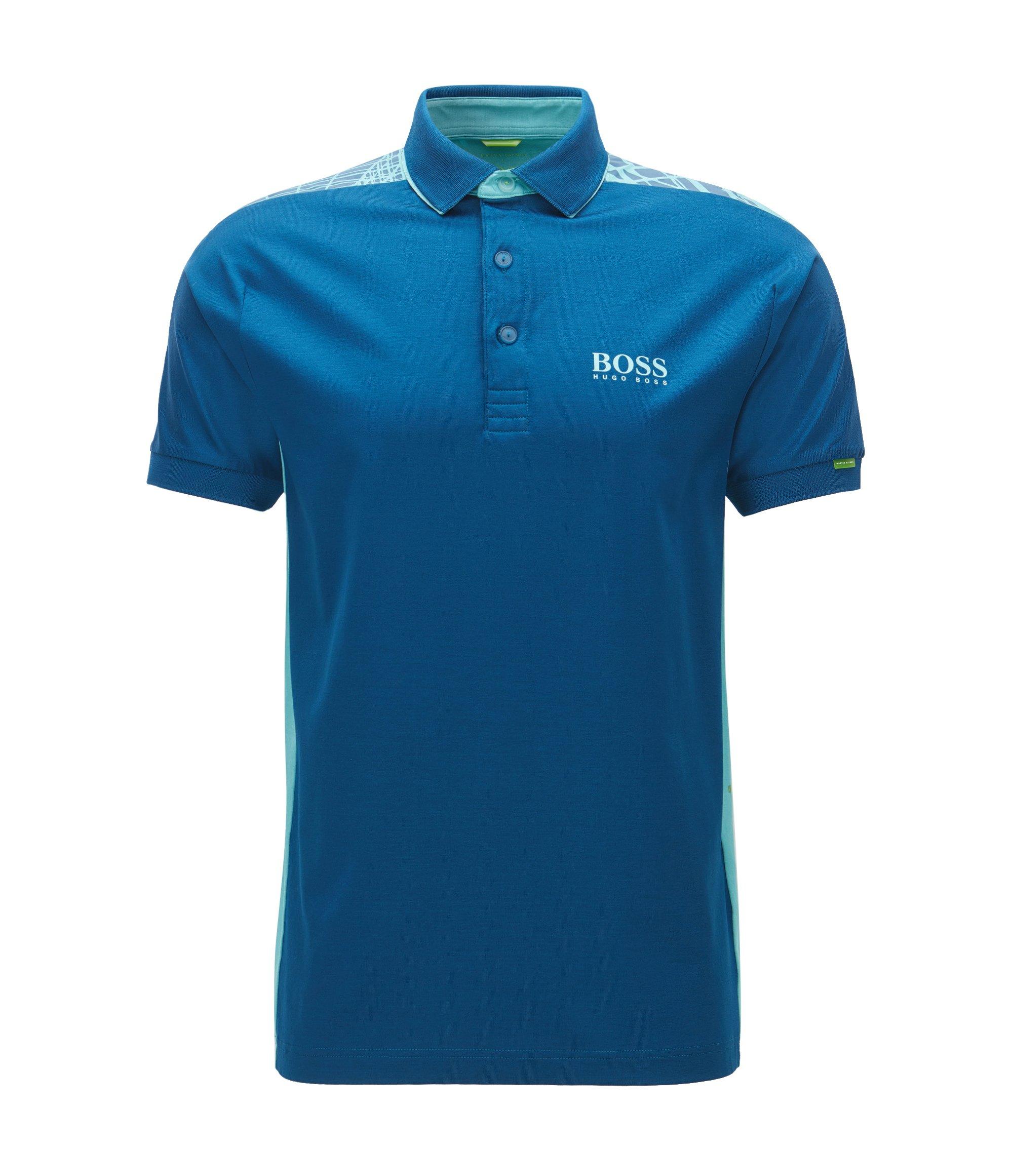 Regular-fit polo van stretchkatoen, Blauw