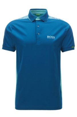 Regular-Fit-Poloshirt aus Stretch-Baumwolle, Blau