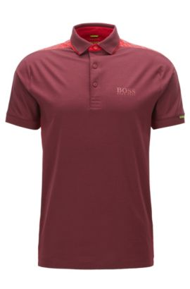 Regular-Fit-Poloshirt aus Stretch-Baumwolle, Rot