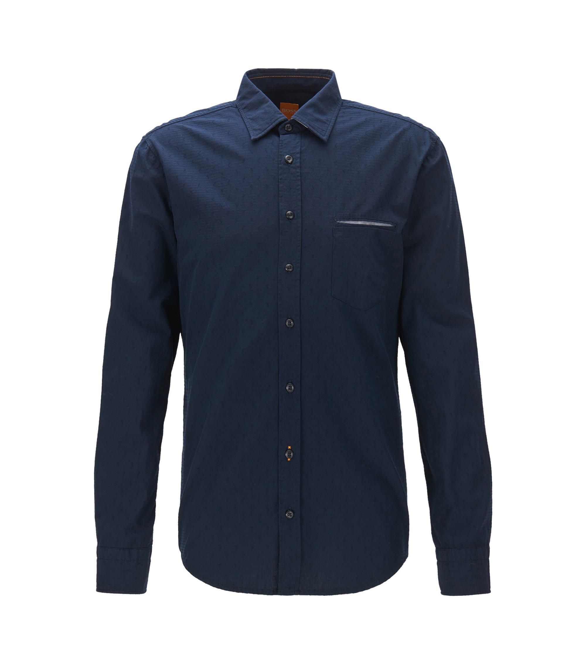 Regular-Fit Hemd aus Baumwoll-Jacquard, Dunkelblau