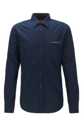 Camicia regular fit in cotone jacquard, Blu scuro