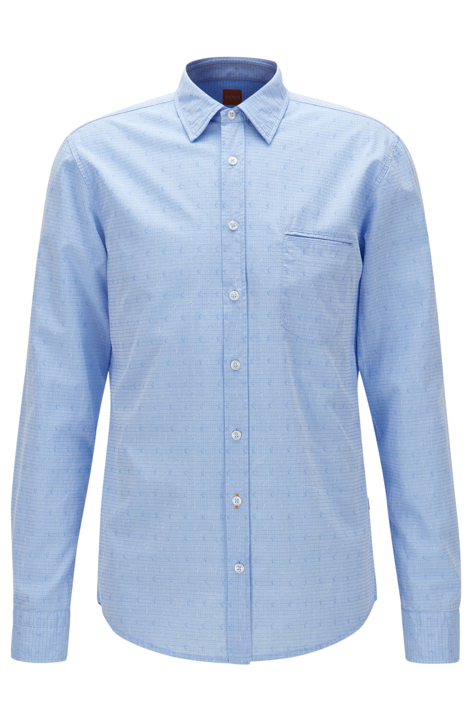 Cotton jacquard shirt in a regular fit