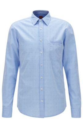 Camicia regular fit in cotone jacquard, Celeste