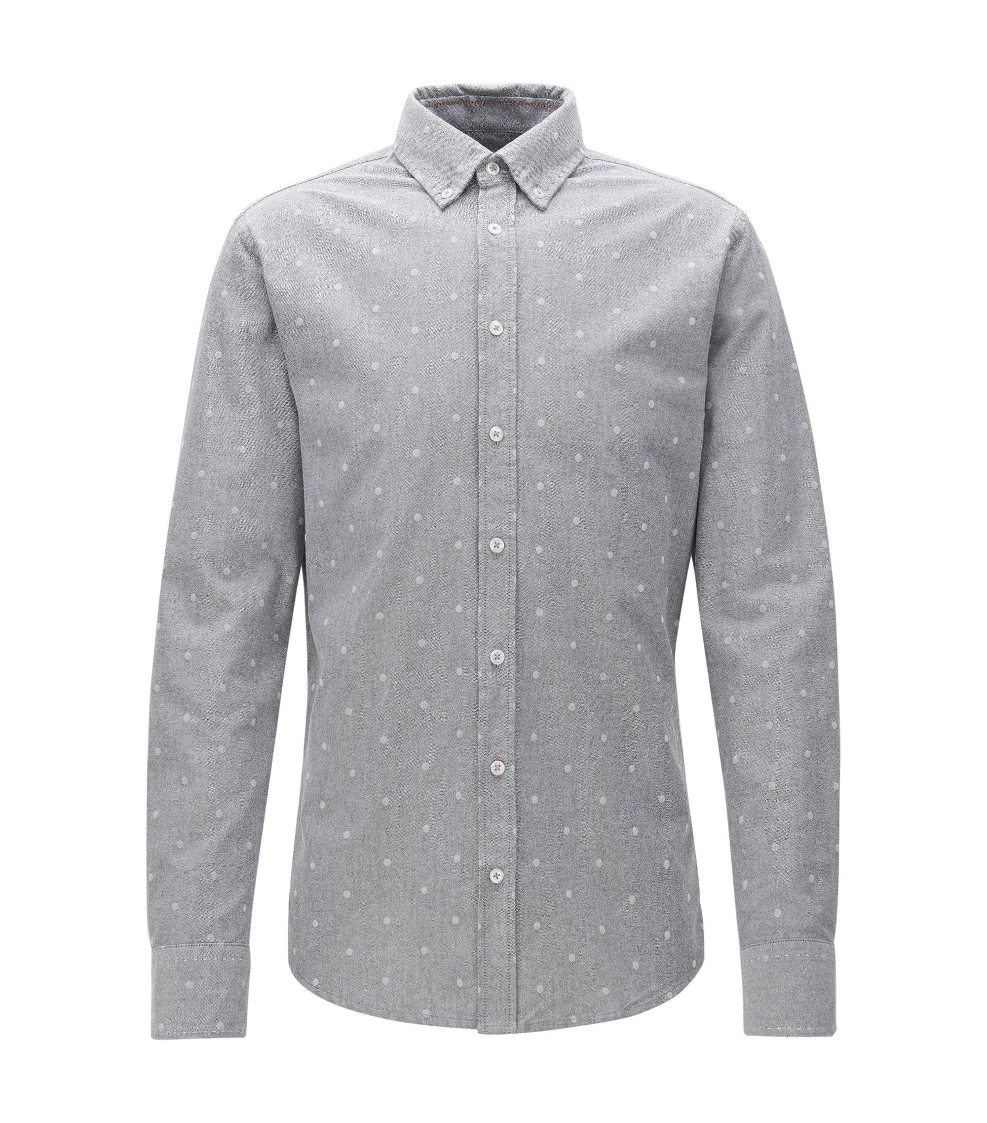 Slim-fit overhemd van panamakatoen, Grijs