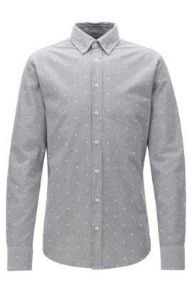 Slim-Fit-Hemd aus Panama-Baumwolle, Grau