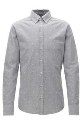 Slim-fit shirt in panama cotton, Grey