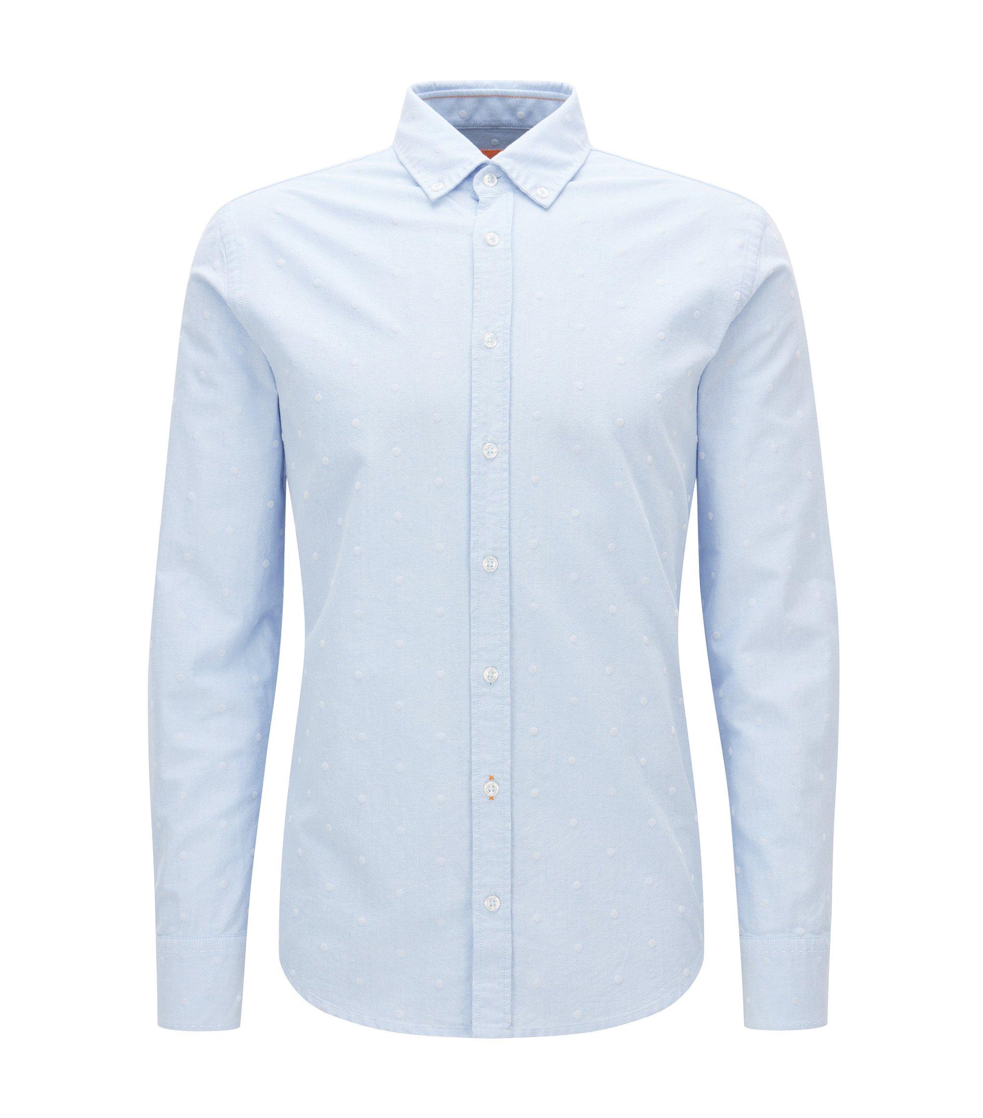Slim-Fit-Hemd aus Panama-Baumwolle, Dunkelblau