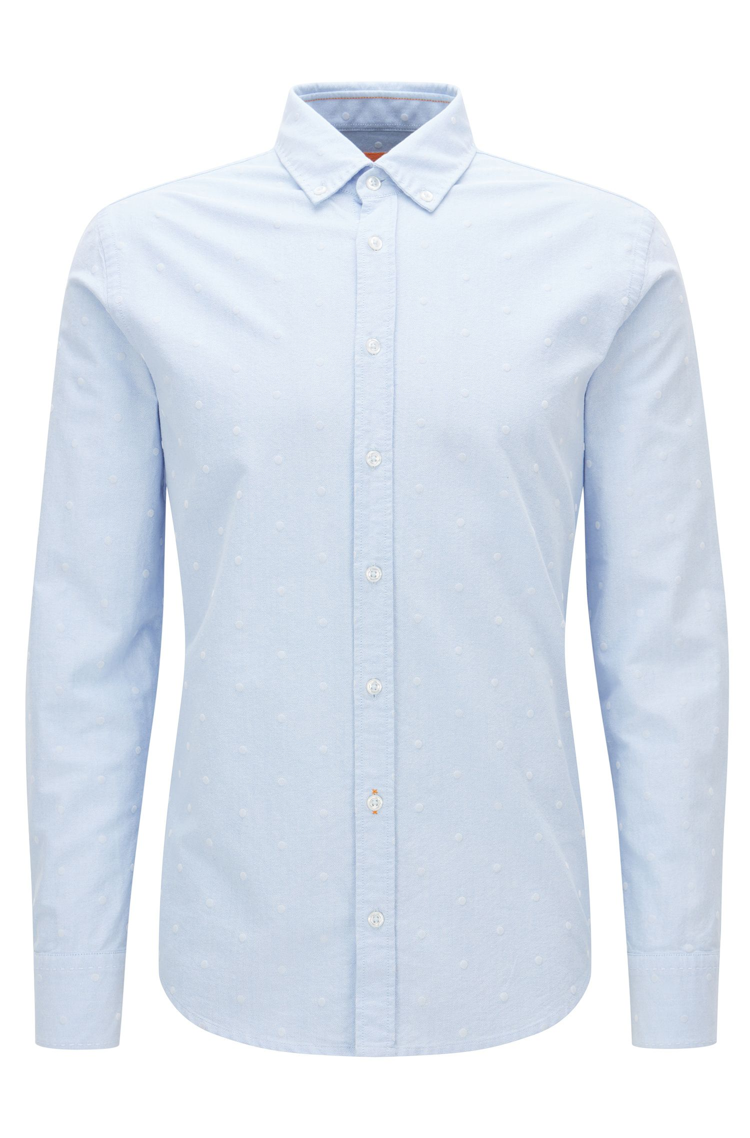 Camicia slim fit in cotone panama