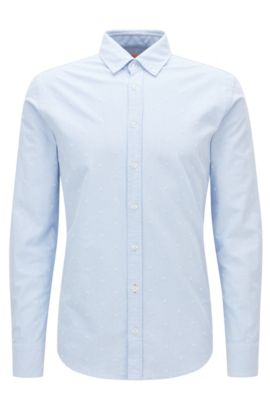 Camicia slim fit in cotone panama, Blu scuro