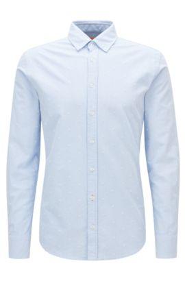 Slim-fit overhemd van panamakatoen, Donkerblauw