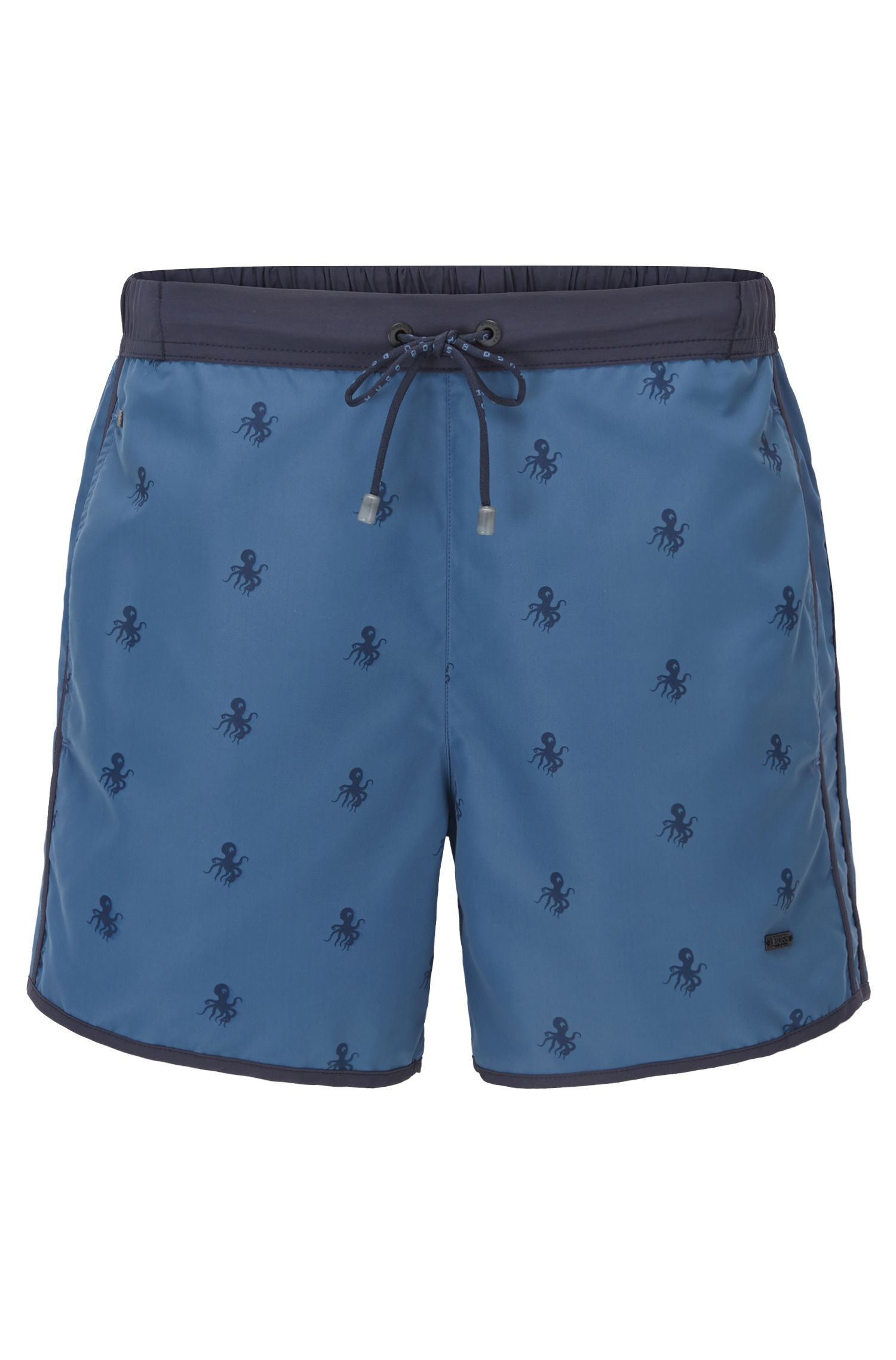 Drawstring swim shorts in technical fabric
