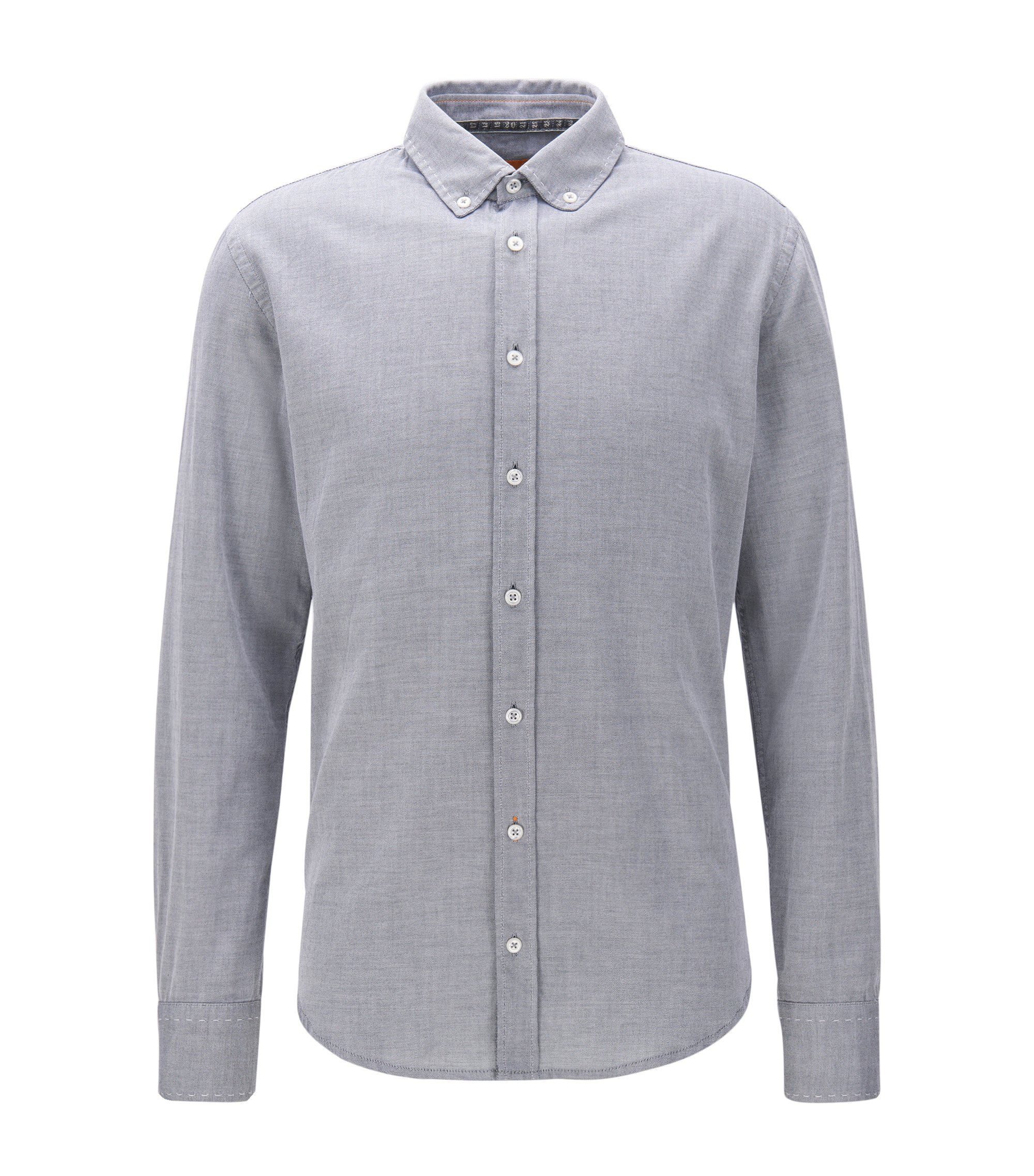 Slim-fit shirt in brushed Oxford cotton, Blue