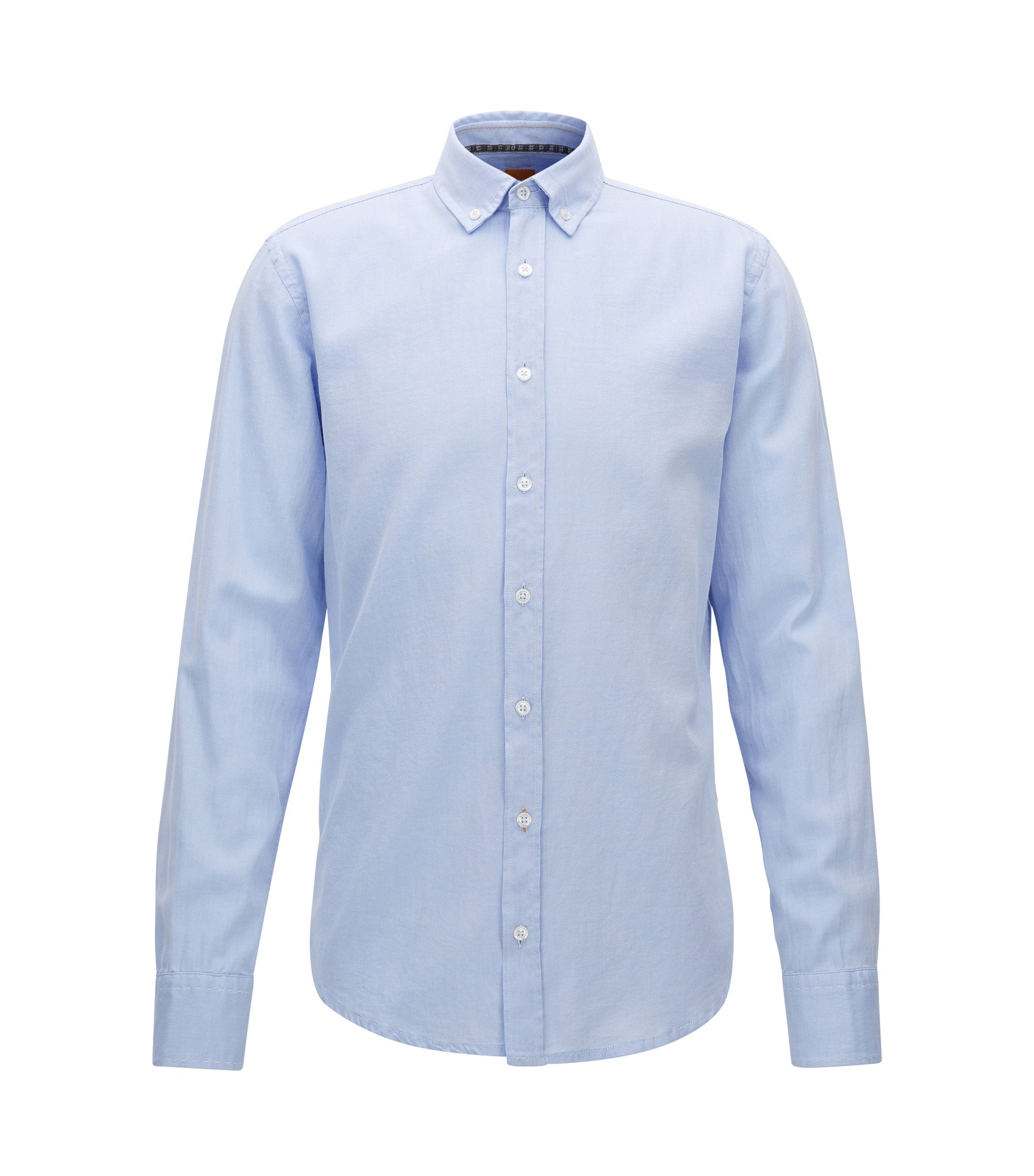 Slim-fit overhemd van geborsteld Oxfordkatoen, Lichtblauw