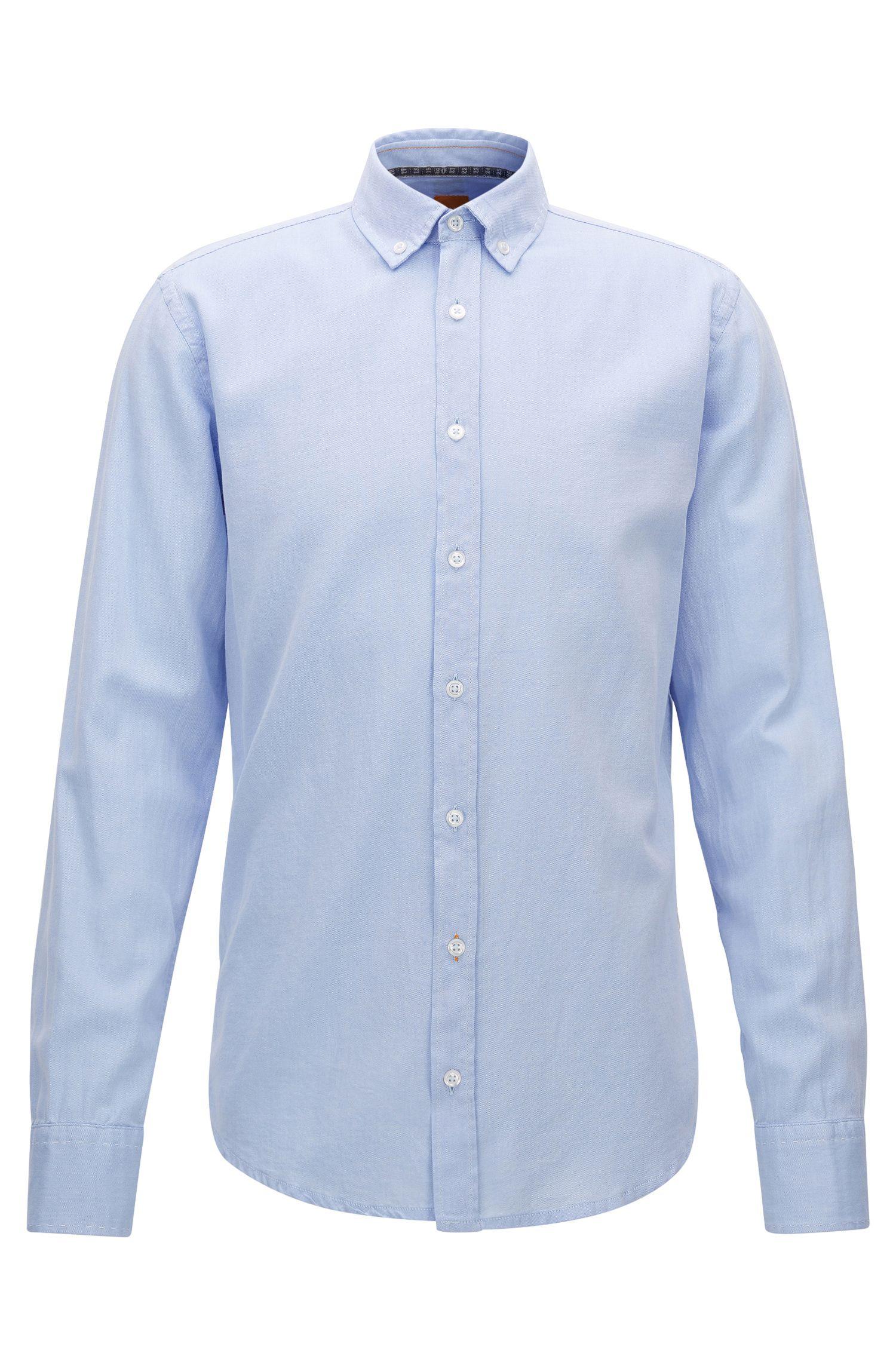 Slim-fit overhemd van geborsteld Oxfordkatoen