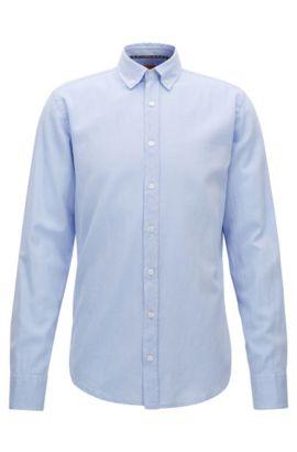 Camicia slim fit in cotone Oxford spazzolato, Celeste