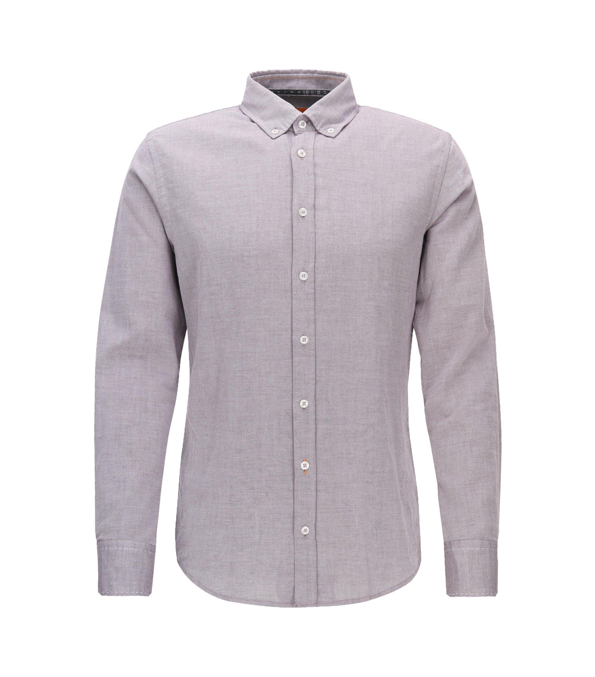 Camicia slim fit in cotone Oxford spazzolato, Rosso chiaro