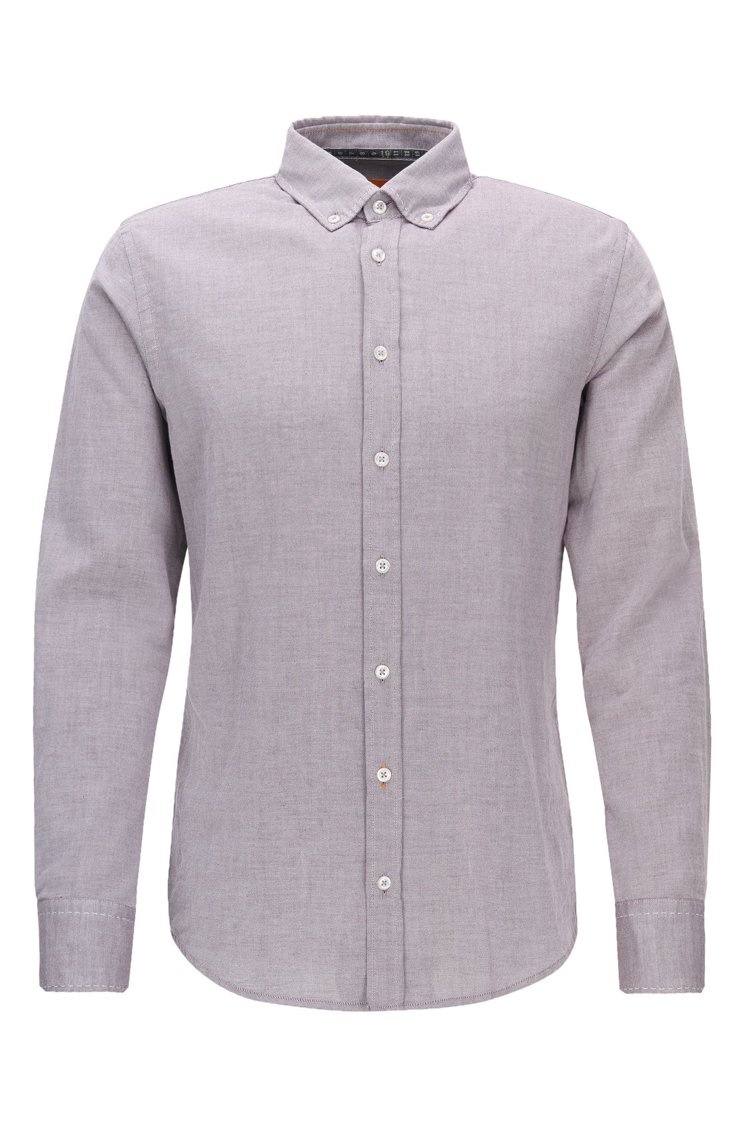 Slim-fit shirt in brushed Oxford cotton