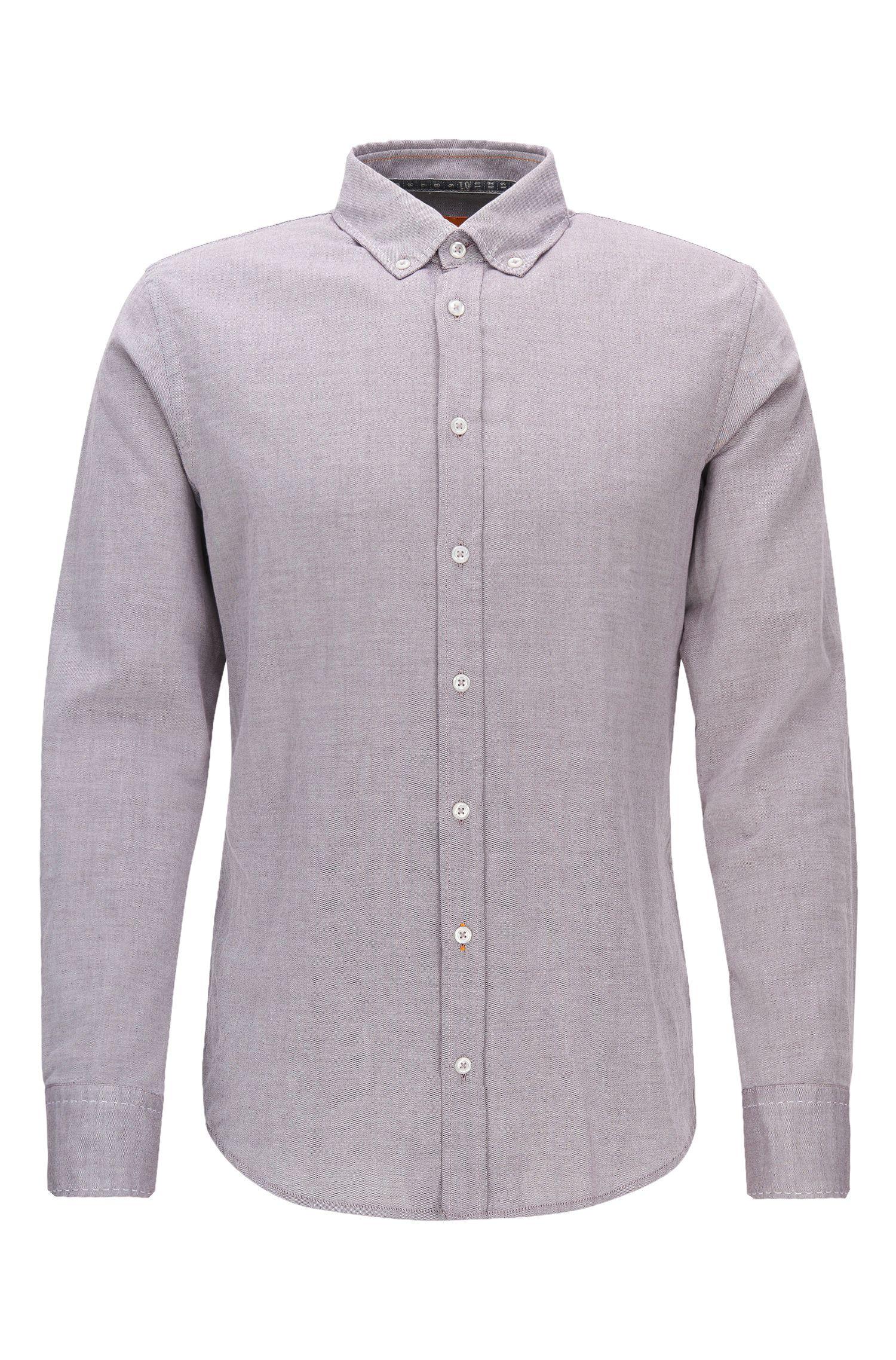Camicia slim fit in cotone Oxford spazzolato