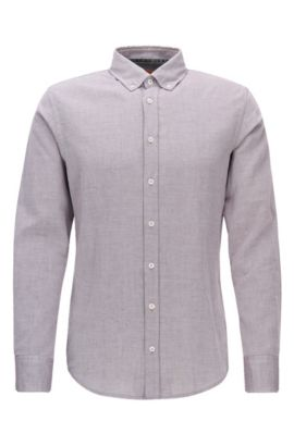 Slim-fit shirt in brushed Oxford cotton, Light Red