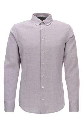 Slim-fit overhemd van geborsteld Oxfordkatoen, lichtrood