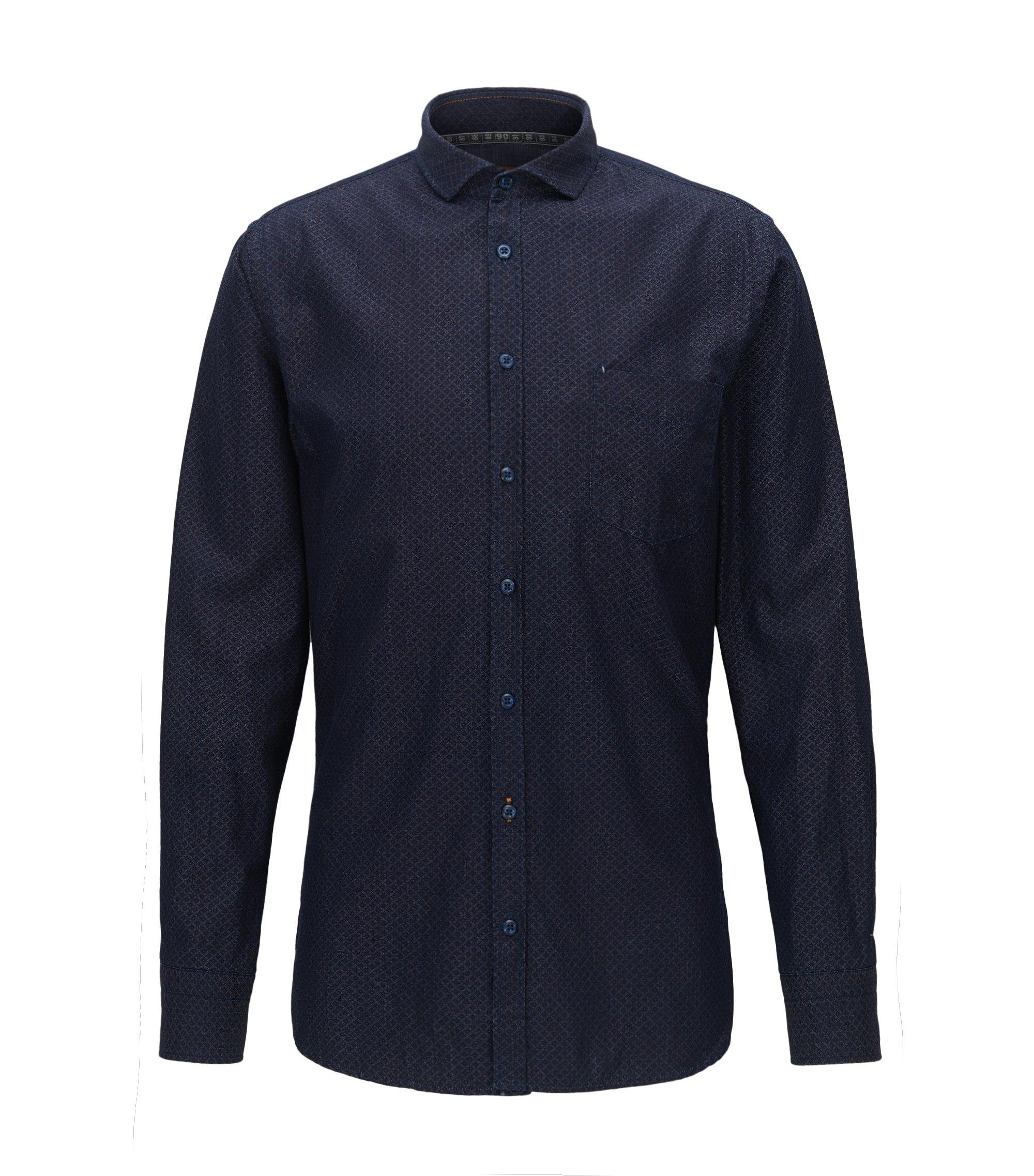 Slim-fit overhemd van katoen met dessin, Donkerblauw