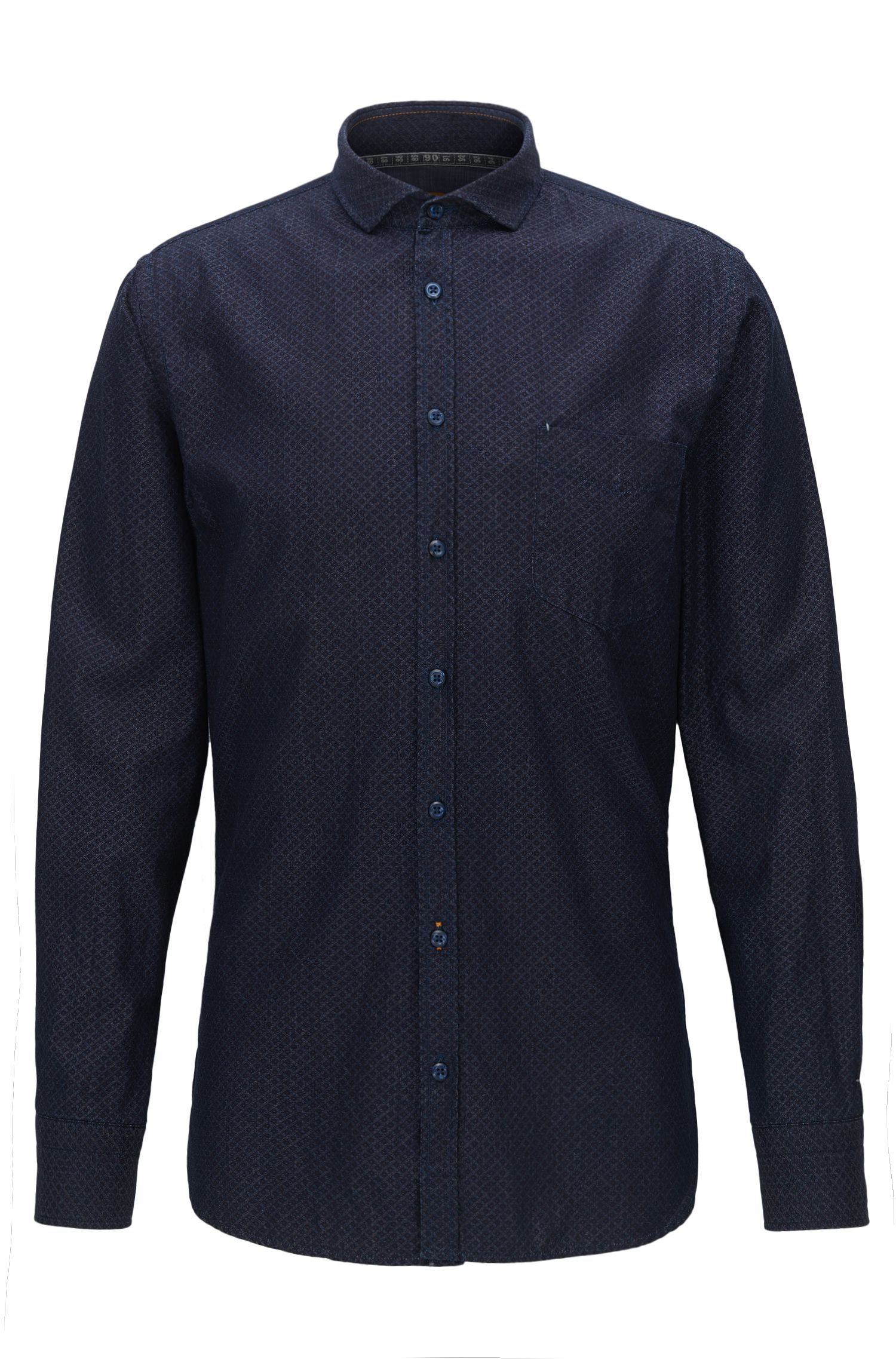 Camisa slim fit en algodón estampado