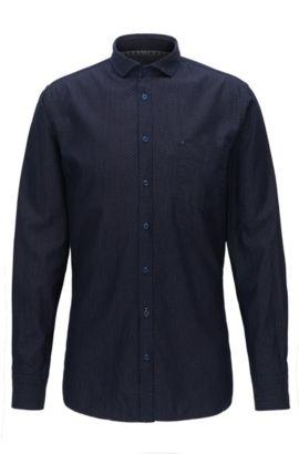 Chemise Slim Fit en coton à motif, Bleu foncé