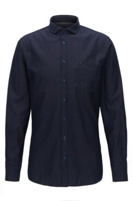 Gemustertes Slim-Fit Hemd aus Baumwolle, Dunkelblau