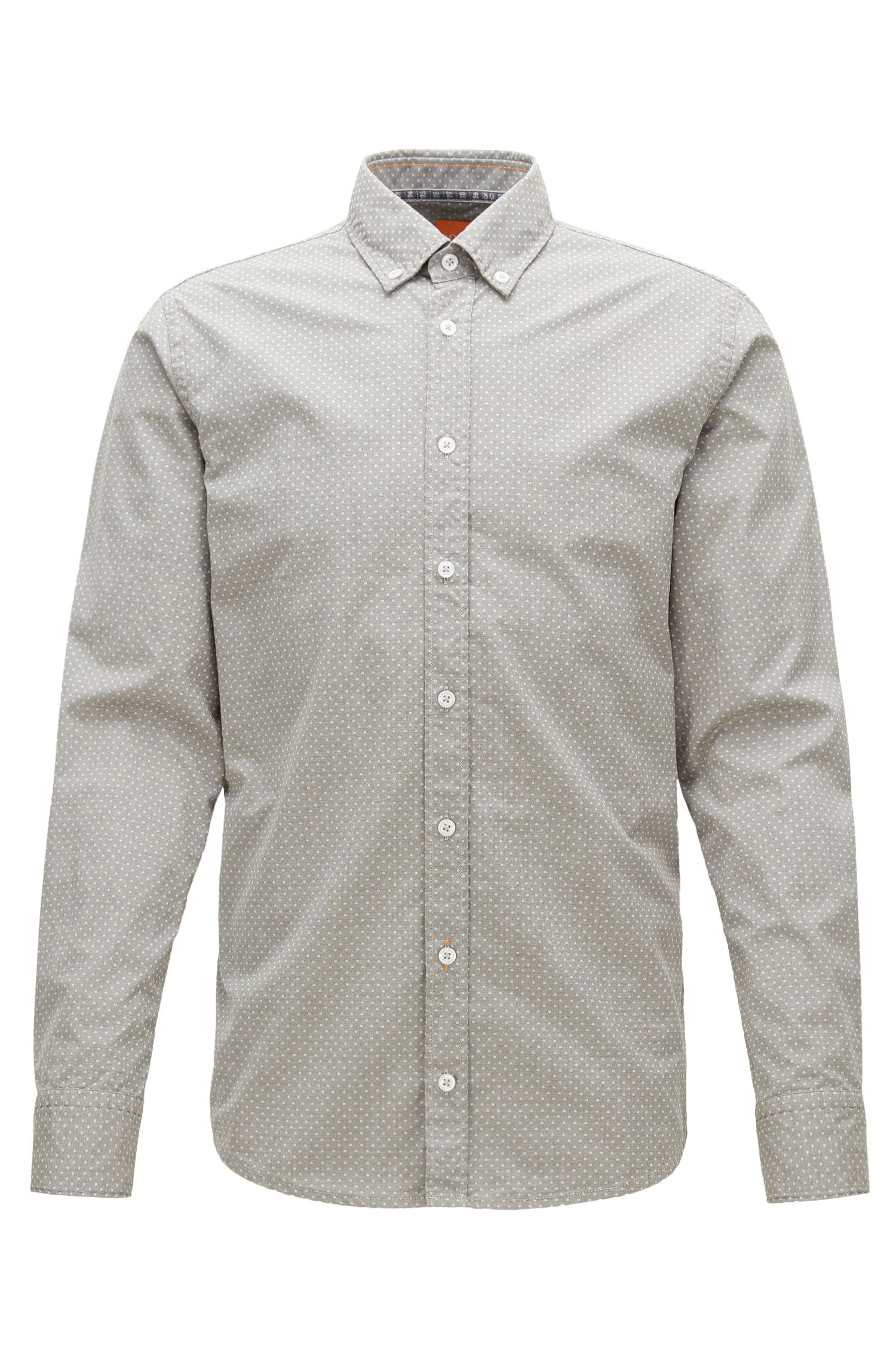 Slim-fit shirt in heathered cotton