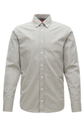 Slim-fit shirt in heathered cotton, Green