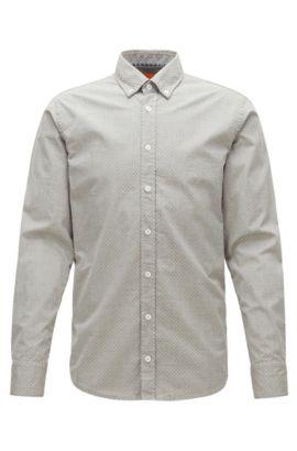 Slim-fit overhemd van gemêleerde katoen, Groen
