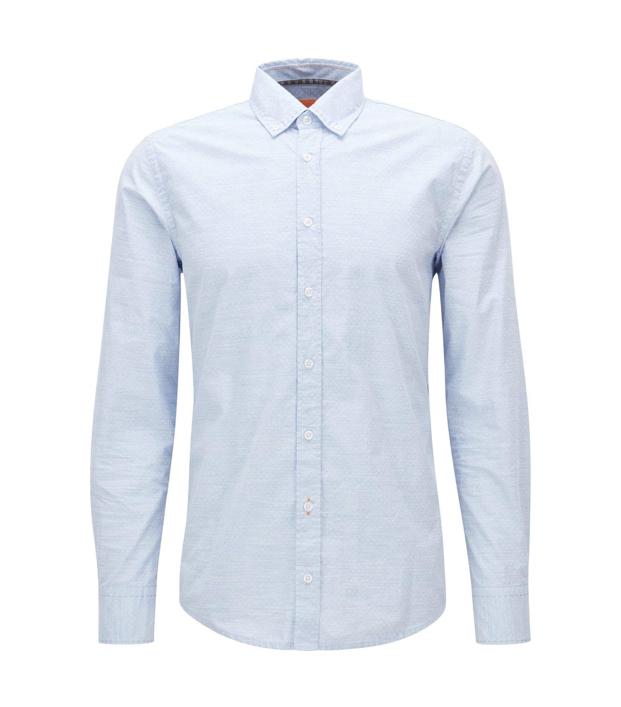 Slim-fit overhemd van gemêleerde katoen, Lichtblauw