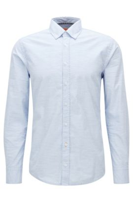 Slim-fit shirt in heathered cotton, Light Blue
