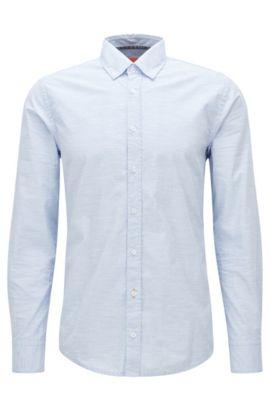 Camicia slim fit in cotone mélange, Celeste