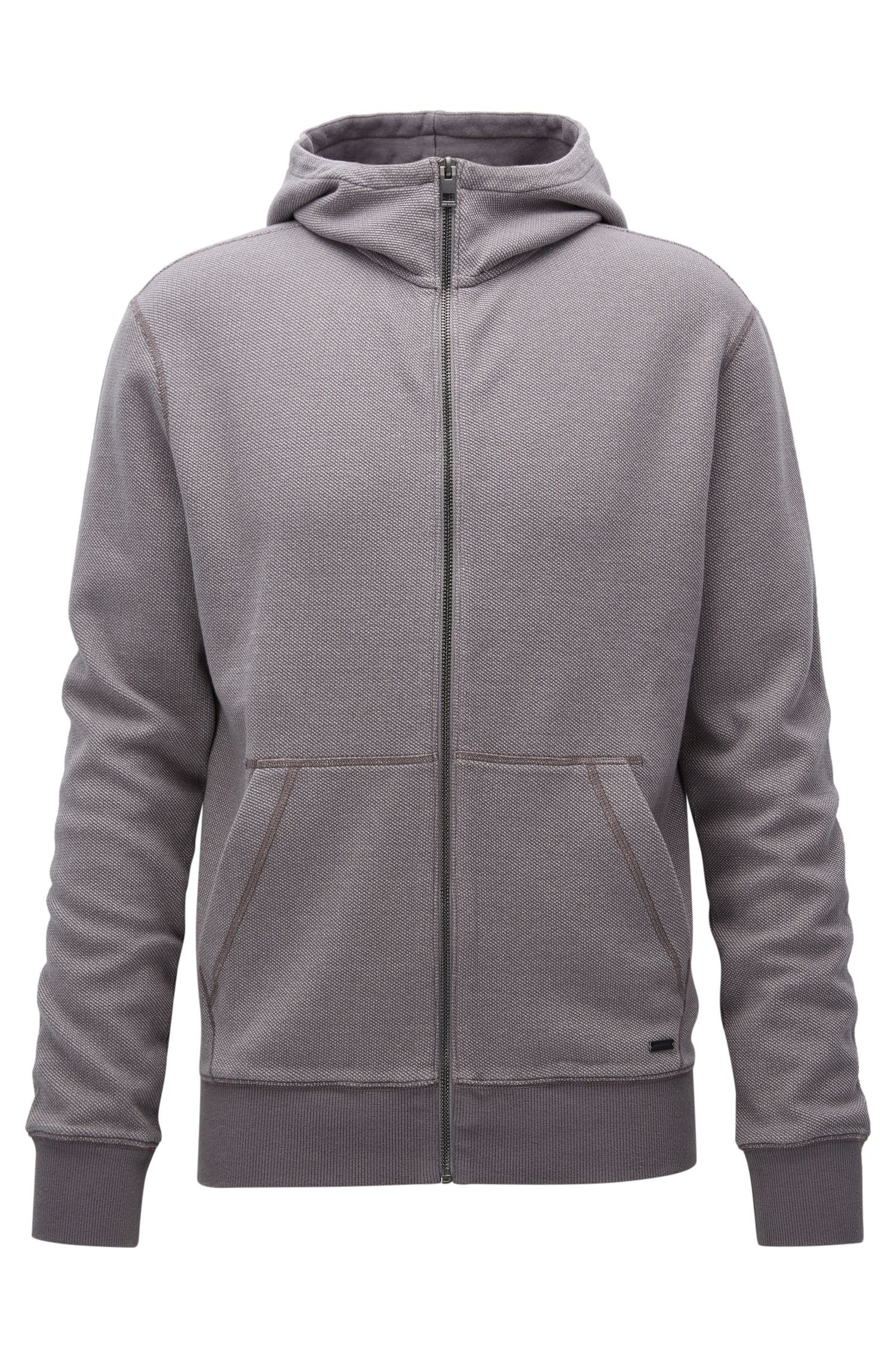 Zip-through hooded sweatshirt in interlock cotton