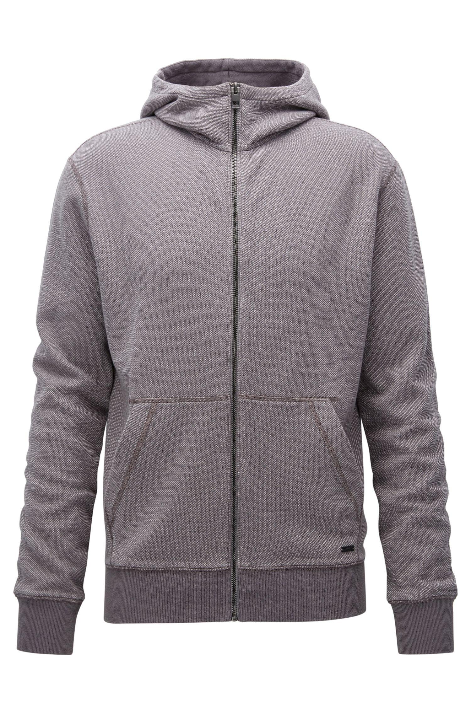 Sweatshirt van interlock-katoen met ritssluiting en capuchon