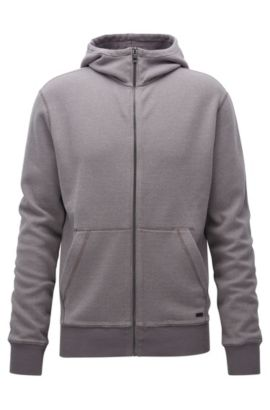 Zip-through hooded sweatshirt in interlock cotton, Grey