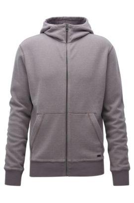 Sweatshirt van interlock-katoen met ritssluiting en capuchon, Grijs