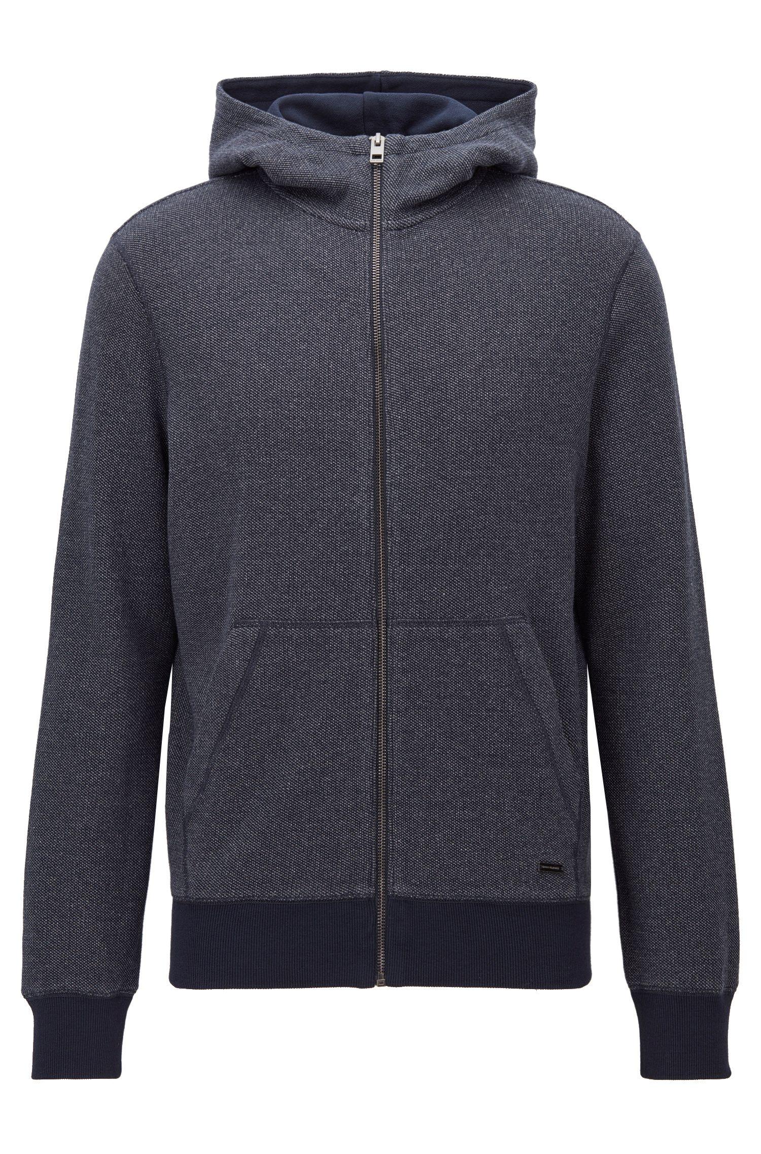 Zip-through hooded sweatshirt in interlock cotton