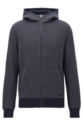 Sweatshirt van interlock-katoen met ritssluiting en capuchon, Donkerblauw