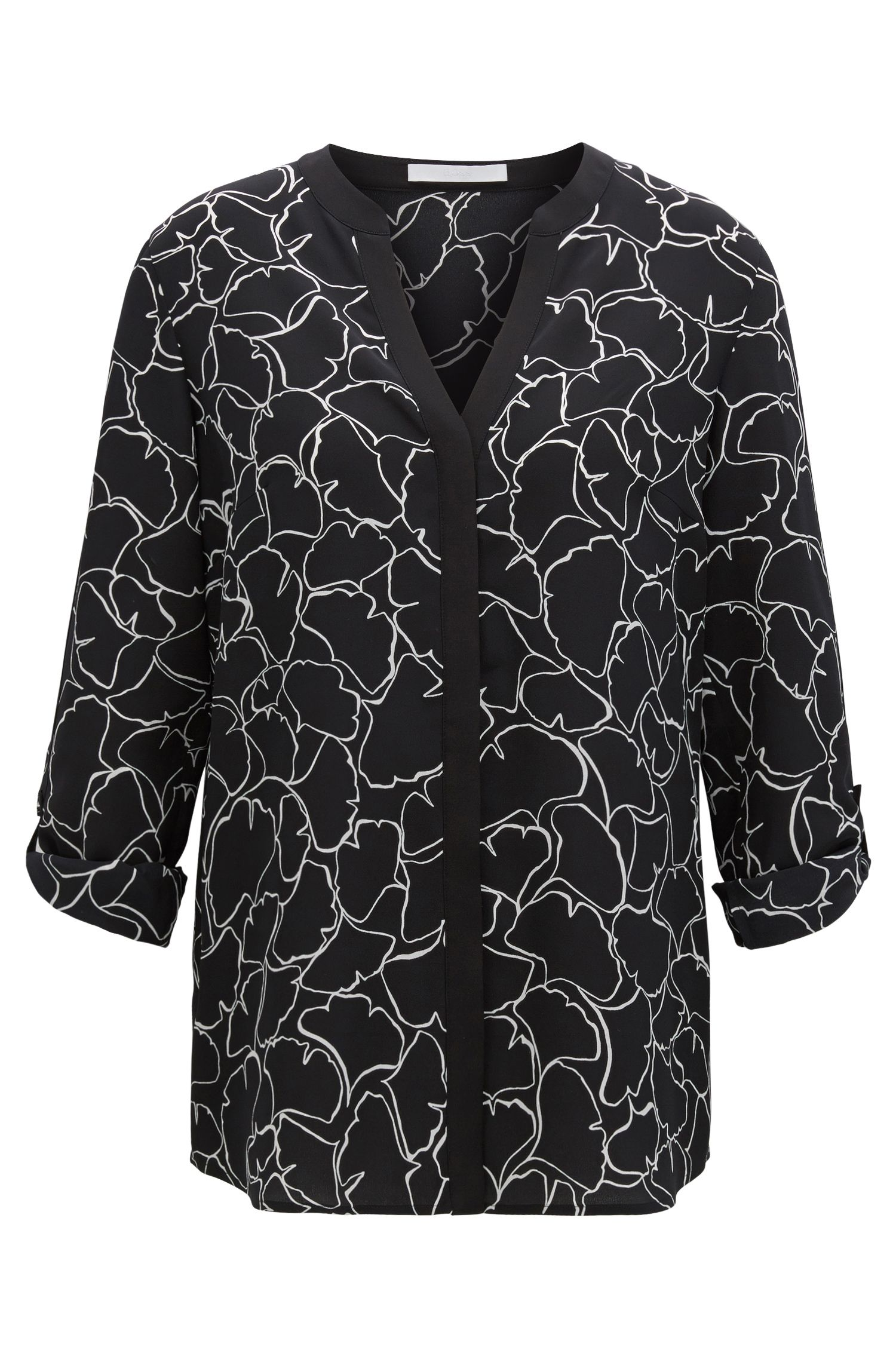 Regular fit gingko-print silk blouse