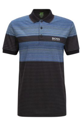Regular-fit polo shirt in a technical fabric, Black