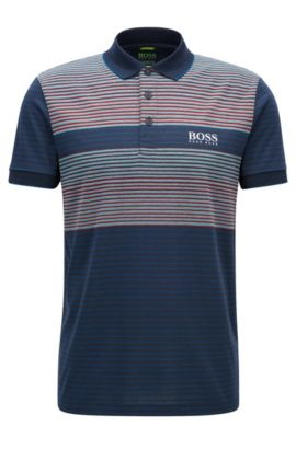 Regular-fit polo shirt in a technical fabric, Dark Blue