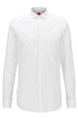Camicia slim fit in popeline di cotone tinto in capo, Bianco