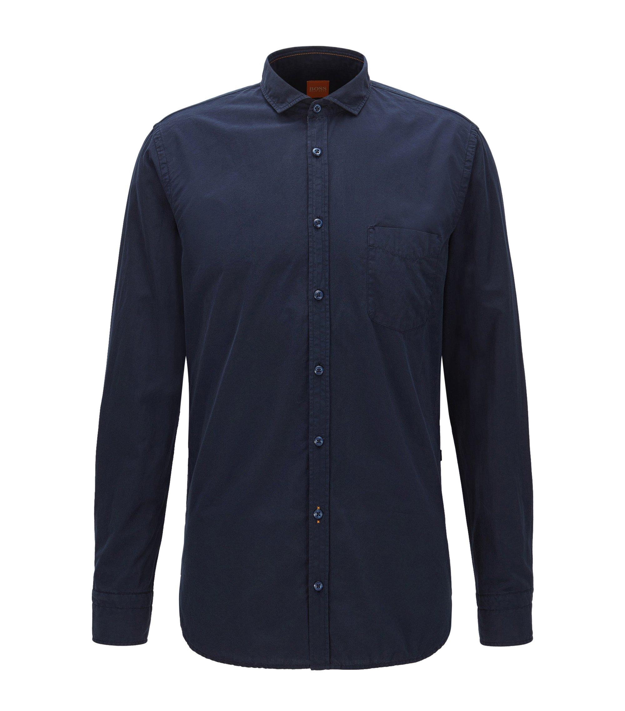 Camisa slim fit en popelín de algodón teñido en prenda, Azul oscuro