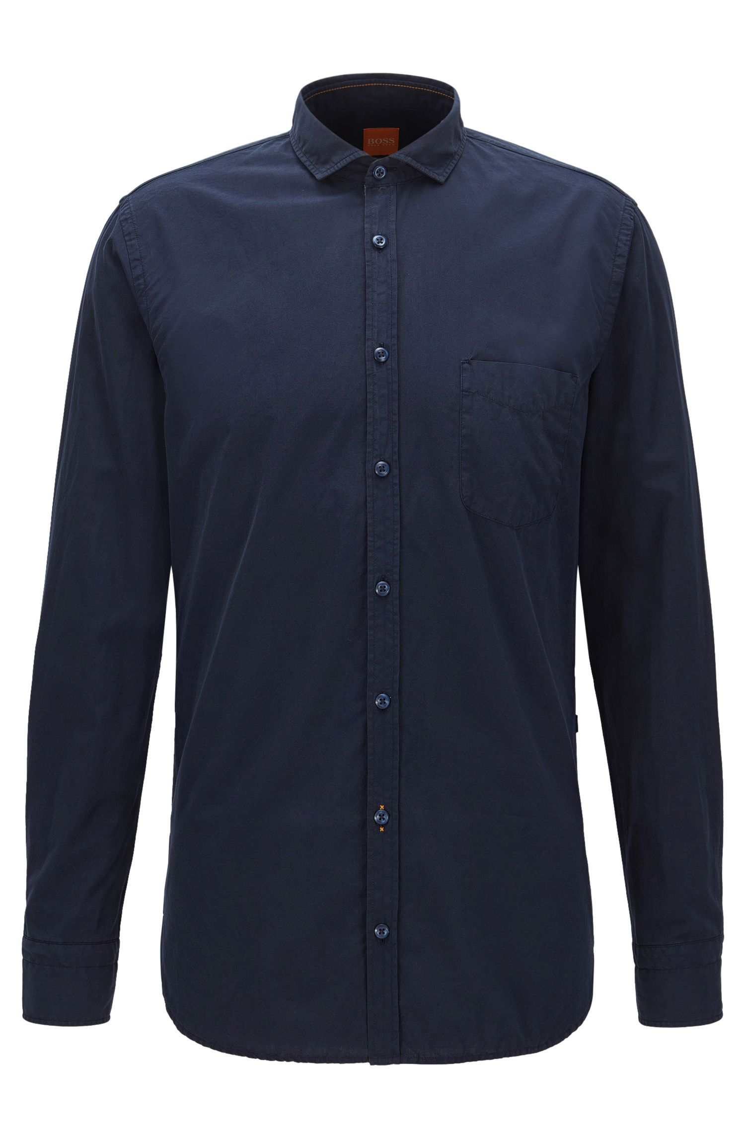 Slim-fit shirt in garment dyed cotton poplin