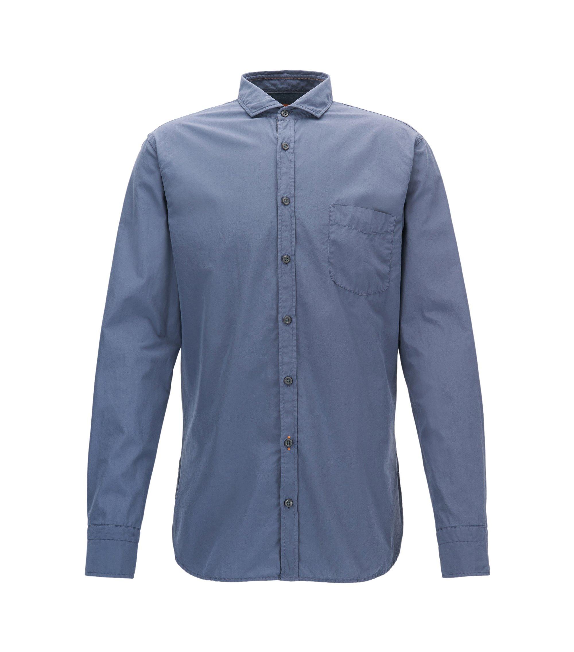 Slim-fit overhemd van garment-dyed katoenpopeline, Blauw